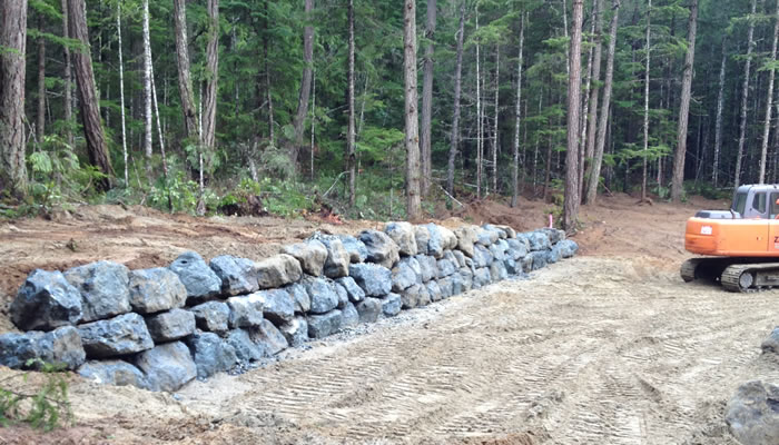Boulder Retaining Walls Qualicum and Parksville.
